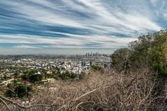 Runyon Canyon Park and Downtown Los Angeles stock images