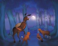 Ruolo e cane del gatto del cavallo entro la notte Immagini Stock