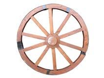 Ruota antica del carretto fatta di di legno e di foderato di ferro isolati Immagini Stock