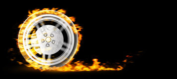 Ruota bruciante rossa su bacgkround nero illustrazione 3D Fotografia Stock Libera da Diritti