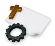 Ruota cristiana di ingranaggio e dell'incrocio - rappresentazione 3d Fotografia Stock Libera da Diritti
