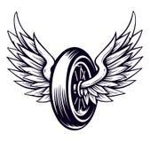 Ruota del motociclo di vettore con le ali royalty illustrazione gratis