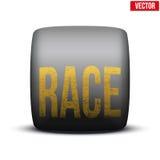 Ruota dell'automobile sportiva ampia con la corsa dell'iscrizione dentro Immagine Stock