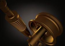 Ruota dell'oro ed ammortizzatore sul nero illustrazione di stock