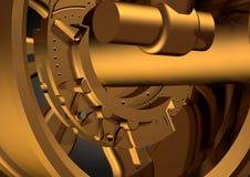 Ruota dell'oro ed ammortizzatore sul nero royalty illustrazione gratis