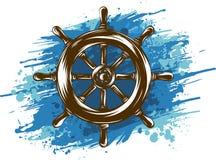 Ruota della nave su fondo bianco Progettazione nautica dell'icona illustrazione di stock