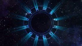Ruota dello zodiaco che rotea nello spazio illustrazione di stock