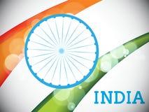 Ruota di Ashoka con le onde tricolori di nazione per le celebrazioni indiane di giorno della Repubblica Immagini Stock Libere da Diritti