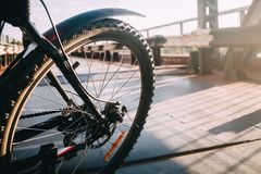 Ruota di bicicletta posteriore con un'ala al sole fotografia stock