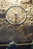 Ruota di bicicletta su una parete di pietra di giallo del mattone alla notte Israele, Dimona, ` di MOR del `, 2018 fotografie stock libere da diritti