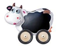 Ruota di Copyspace della lavagna del porcellino salvadanaio della mucca isolata Fotografia Stock