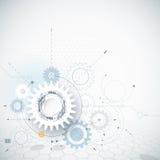 Ruota di ingranaggio dell'illustrazione di vettore, esagoni Tecnologia di ciao-tecnologia e fondo astratti di ingegneria royalty illustrazione gratis