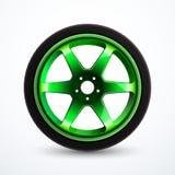 Ruota di sport di vettore con l'orlo verde Rotella della lega dell'automobile isolata illustrazione vettoriale