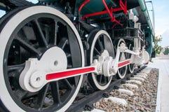 Ruota di vecchia locomotiva a vapore Fotografia Stock