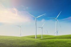 Ruota di vento con cielo blu Fotografia Stock Libera da Diritti