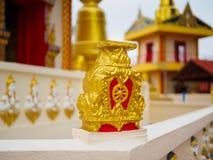 Ruota di vita o di Dharmachakra o ruota di Dhamma a Wat Chaiyamangalaram Penang Malaysia Fotografia Stock