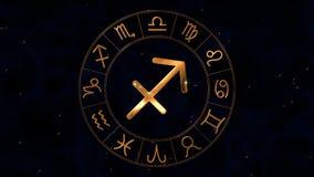 Ruota dorata dello spinnig dell'oroscopo dello zodiaco con il centauro di Sagittario, segno di Archer royalty illustrazione gratis