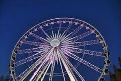 Ruota panoramica a Danzica di notte Fotografie Stock