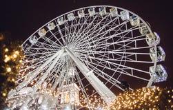 Ruota panoramica 2018 di inverno del nuovo anno Kiev Ucraina Fotografia Stock