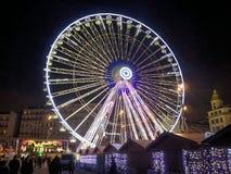 Ruota paronamic di Marsiglia presa alla notte Fotografie Stock