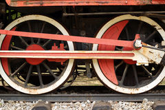 Ruote arrugginite della vecchia locomotiva a vapore Fotografia Stock Libera da Diritti