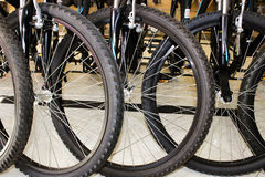 Ruote di bicicletta nere Immagini Stock