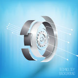 ruote di ingranaggio 3D con gli elementi Concetto alta tecnologia Fotografie Stock Libere da Diritti