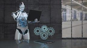 Ruote di ingranaggio del taccuino del robot royalty illustrazione gratis
