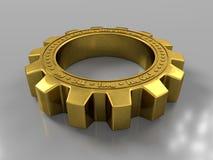 Ruote di ingranaggio metalliche dorate su fondo grigio con la riflessione, primo piano illustrazione della rappresentazione 3d illustrazione vettoriale