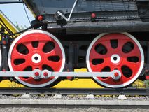 Ruote di retro treno antiquato fotografie stock