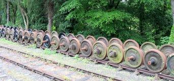 Ruote ferroviarie del treno Fotografia Stock