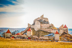 Rupea fortified church. Rupea (German Reps; Hungarian: Kőhalom, mound of rocks; Latin Ripa) is a town in Braşov County in Transylvania, Romania. It administers Royalty Free Stock Photos