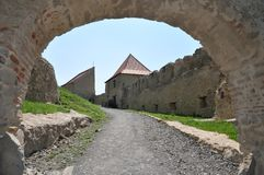 Rupea fortress. Inner yard of restored Rupea fortress from Transylvania, Romania Royalty Free Stock Photo