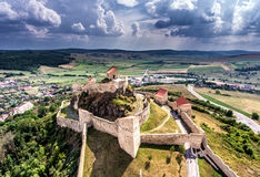 Rupea Medieval Fortress in the heart of Transylvania, Romania. Aerial view from a drone Stock Photos