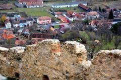 Rupea Reps, medeltida spår för fästning Transylvania Rumänien Fotografering för Bildbyråer
