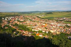 Rupea town from Brasov County in Transylvania, Romania. View from the Rupea Fortress to Rupea town from Brasov County in Transylvania, Romania royalty free stock image
