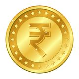 Rupee currency gold coin with stars. Indian currency. Vector illustration isolated on white background. Editable elements and glar. E. Suitable for casino game Royalty Free Stock Images