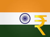 Rupee Currency Sign over the Indian Flag Stock Photo
