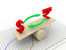 Rupee dollar balances Stock Images