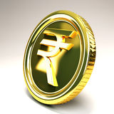 Rupee Gold Coin. Image of 3d gold coin of rupee against abstract background Stock Images
