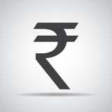 Rupee icon with shadow on a gray background. Vector illustration Royalty Free Stock Images
