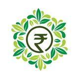 Rupee in Leafs frame, flat design. Vector Illustration on white background. Please see more images related stock illustration
