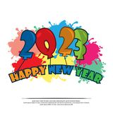Happy 2023 New Year card with balloon. Please see more images related vector illustration