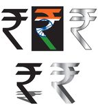 Rupee logo. In 3d,gradient & intract with india flag Stock Photo