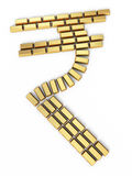 Rupee sign gold bars stock image