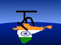 Rupee sign with Indian map Stock Image
