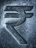 Rupee Symbol on Metallic Stainless Steel Royalty Free Stock Photo