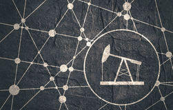 Rupee Symbol on Molecule And Communication Background. Stock Image