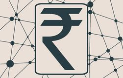 Rupee Symbol on Molecule And Communication Background. Stock Photo