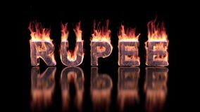 Rupee word burning in flames on the glossy surface, financial 3D background stock footage